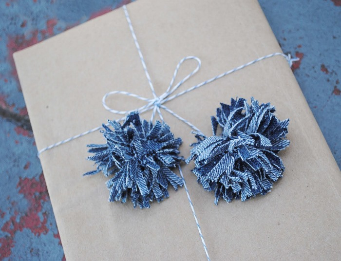 Pom Poms Made of Denin Jean Fabric