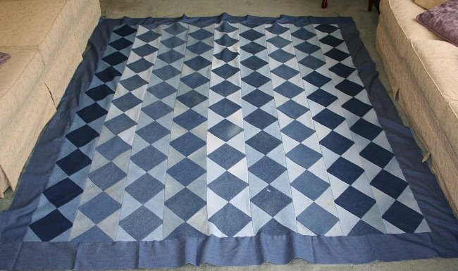 Denim Rag Quilt Made From Thrift Store Jeans