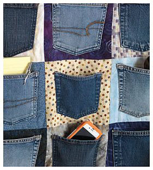 Repurpose Blue Jean Pockets into a Denim Organizer