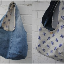 Reversible Denim Bag Made From Recycled Jeans