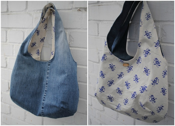 Reversible Denim Bag Made From Jeans