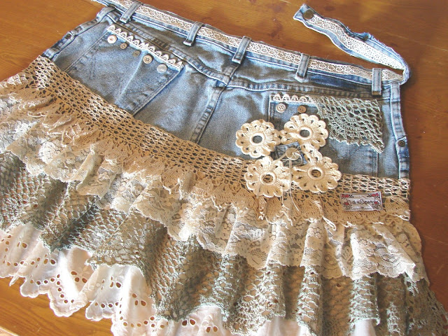 Shabby Chic Denim Apron Made with Ruffled Eyelet and Lace