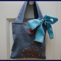 Beaded Denim Bag Made From Recycled Jeans