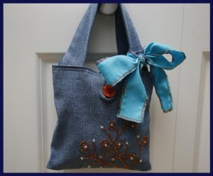 Small Denim Bag Made From Jeans