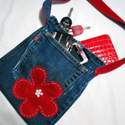 Denim Jean, Corduroy Purse With Beaded Accent