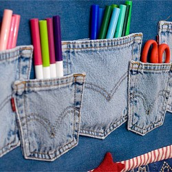Denim Organizer Made from Blue Jean Pockets