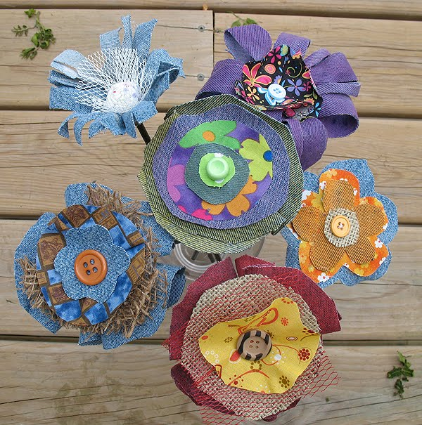 Whimscial Coloful Denim Fabric Flowers Made From Recycled Jeans