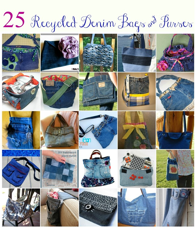 25 Recyled Denim Jean Bags and Purse Tutorials