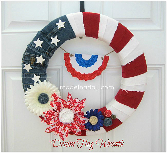30 Patriotic Home Decoration Ideas In White Blue And Red: Make A Patriotic Denim Flag Wreath For The 4th Of July