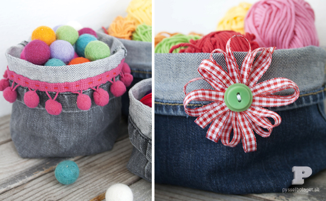 Denim Baskets Made from Repurposed Jeans