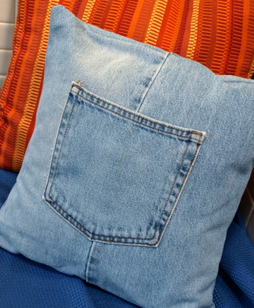 Denim Pillow with Pocket