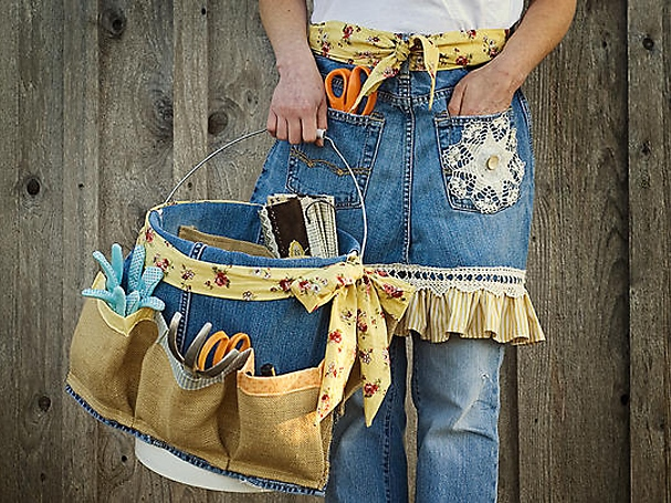 Garden Apron and Tool Caddy Made from Old Denim Jeans