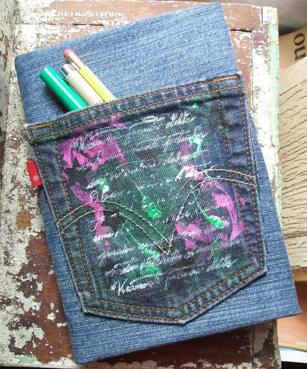 Make Your Own Book Cover Craft : Craft a denim book cover made from recycled jeans