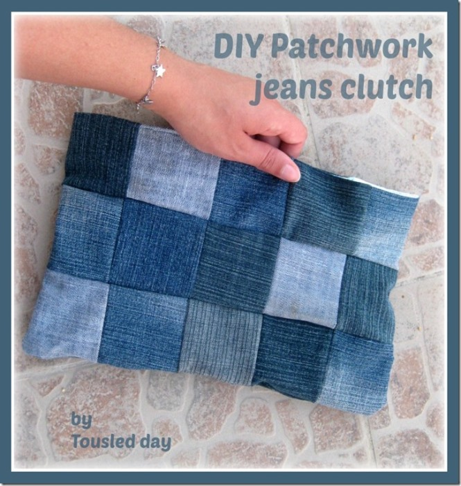 Diy Jean Book Cover ~ Make a patchwork denim clutch purse from recycled jeans