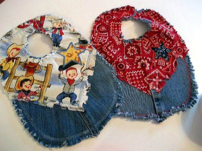 Western Style Baby Bib Made from Jeans